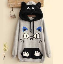cat hoodies cat sweatshirts with ears fleece pullover hoodies