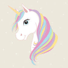 White Unicorn Vector Head With Mane And Horn Illustration Art