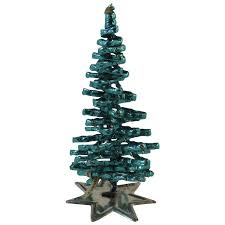 West German Foil Wrapped Green Christmas Tree On Tin Base Vintage Germany