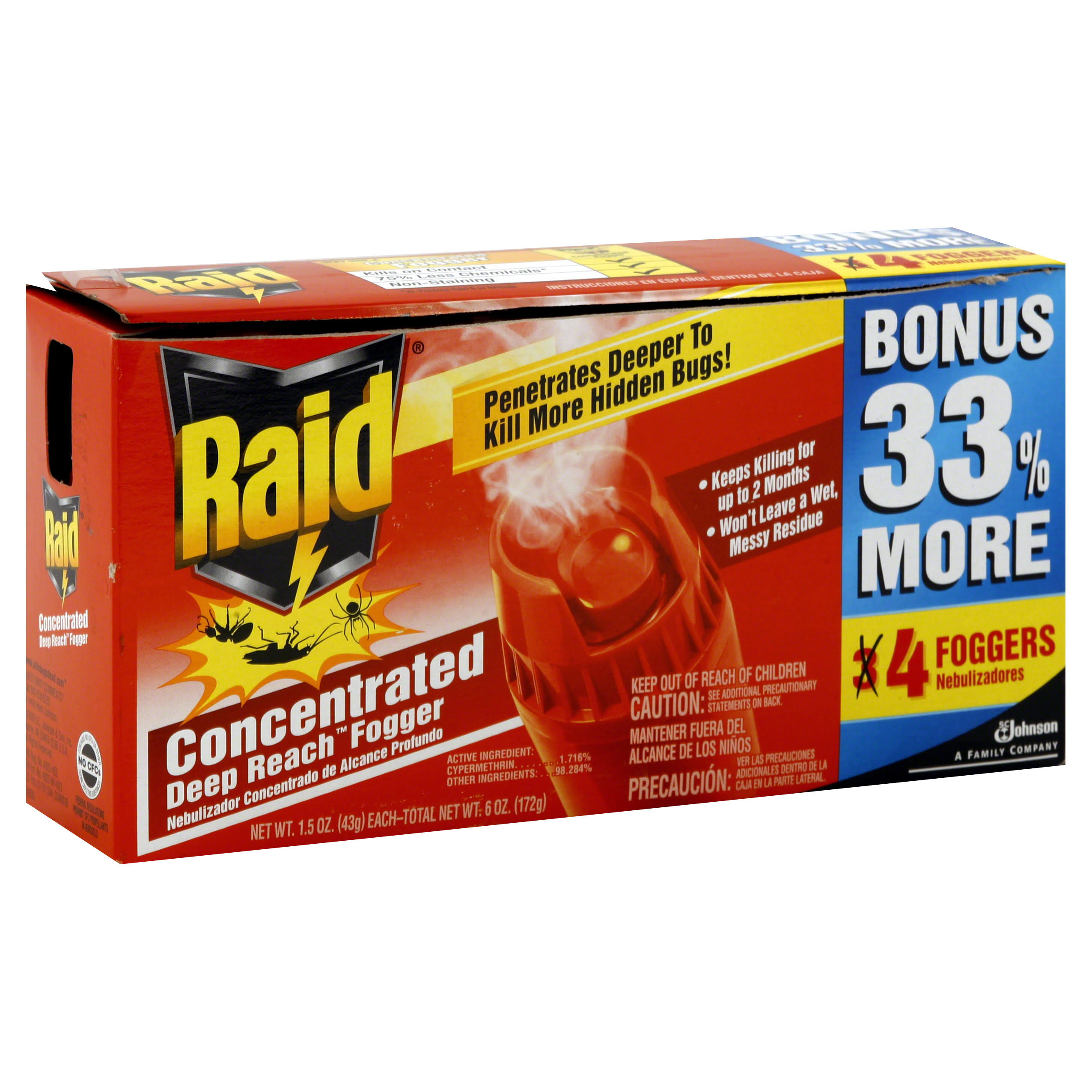 SC Johnson Raid Concentrated Deep Reach Fogger - 1.5oz, 4pk