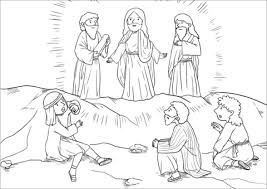 Click To See Printable Version Of Moses And Elijah Appeared Before Them Talking With Jesus Coloring