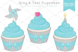 cm grey teal cupcakes clip art sample image1