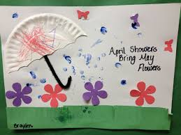 Preschool Spring Art April Showers Bring May Flower The Raindrops Are Childs Fingerprints