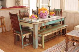 Indian Dining Room Sets Of Wooden Chairs And Table In Blue Yellow Paint