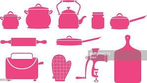 Kitchen Utensils And Appliances Icons Vector Art