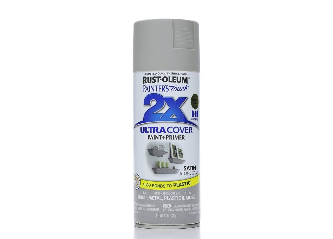 Rust Oleum Painter's Touch 2x Ultra Cover Spray Paint - Stone Gray Satin
