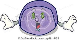 auge geld rolle kuchen karikatur blaubeere maskottchen
