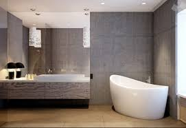 Ceramic Tile For Bathroom Walls by Home Design Concrete Grey Bathroom Wall With Round White Bathtub