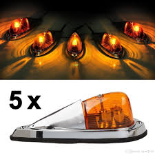 100 Truck Clearance Lights 5x Universal Teardrop Style Amber Led Cab Roof Marker