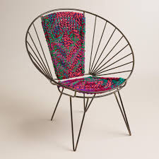 Foldable Oversized Papasan Chair In Indigo by Metal Woven Chindi Chair