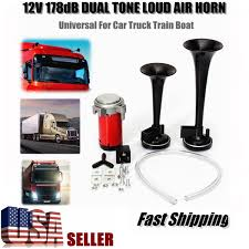178DB ULTRA LOUD Dual Trumpet Air Horn Compressor 12V Car Truck ... 12v 125db Car Motorcycle Truck Horn Compact Electric Pump Air Loud Trux Accsories 3bell Train Model Thorn1 Auto Speaker Alarm 150db Tone Vehicle Boat Motor Lumiparty 178db Super Dual Trumpet Compressor Horns Sound Effect Youtube Flexzon 12v24v 139db Van Bus Vintage Jubilee Bull 90 Rat Rod Hot 12vt Fog Horn Makes 8milelake 150db Single For Wolo Electric Horns For Cars Trucks Boats Rvs And Motorcycles The Best 2018 Loudest Electrical