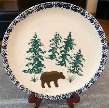 Image Is Loading Rustic 10 034 DECORATIVE PLATE Bear Pine Trees