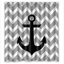 Amazon Anchor shower curtain New Style Grey White Chevron