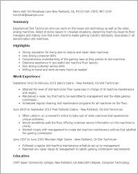 1 Slot Technician Resume Templates Try Them Now