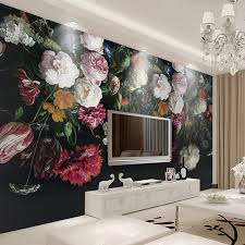 Custom Any Size 3D Wall Murals Wallpaper Retro Hand Painted Floral Painting Living Room Bedroom Home Mural Flower
