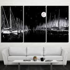 Lienzo Arte De La Pared Marco Fotos HD Impreso Pinturas Living Room Decor 3 Unidades Veleros Negro Blanco Antecedentes Nightscape Carteles PENGDA