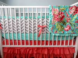 sale ready to ship light coral and grey chevron mint crib