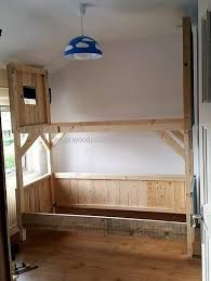 stylish tree house bunk bed plans and diy wood pallets tree house