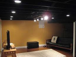 Exposed Basement Ceiling Lighting Ideas by Cozy Ideas Black Basement Ceiling Charming Design 10 Best Ideas