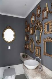 Ornate Mirrors Placed In The Bathroom With Grey Walls - Decorative ... Budget Decorating Ideas For Your Guest Bathroom 21 Small Homey Home Design Christmas Decorating Your Deep Finished Wicker Baskets And Decorative Horse Wall Tile On Walls 120531 Tiles Designs Colors 18 Bathroom Wall Ideas Yellow Decor Pictures Tips From Hgtv Beauteous At With For Airpodstrapco How Important 23 Of And