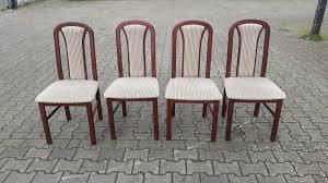 4 esszimmer stühle stuhl mahagoni holz heller stoff hochlehner