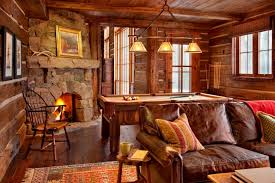 canapé cuir et bois rustique maison rustique entièrement en bois au montana états unis vivons