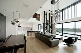 offener wohnbereich metall hängeleuchten wohn essbereich