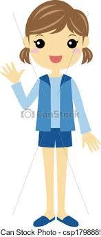 A Girl Waving Vector