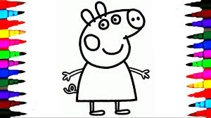 Coloring PEPPA PIG Drawing Pages L Book Videos For Brilliant Kids Learn Colors