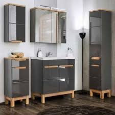 lomadox badmöbel set solna 56 spar set 7 tlg mit 80cm keramikwaschtisch led spiegelschrank in hochglanz grau mit eiche b h t ca 180 200 46