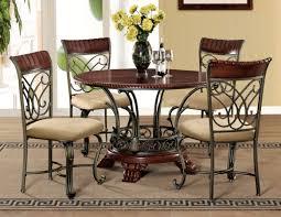 omari casual cherry bronze wood fabric metal 5pc dining room set