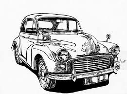 Vintage Car Drawing Morris Minor Classic Limited Edition The333alliance