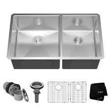 kraus undermount stainless steel 33 in 50 50 double bowl kitchen