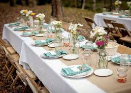 Rustic Wedding Table Ideas Teal And Ivory