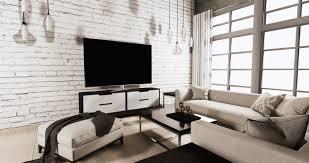 smart fernsehen auf kabinett im wohnzimmer mit weißer