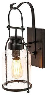 rustic wall light lantern with jug glass rubbed bronze