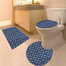 anhuthree indigo wc set teppich und unterlage