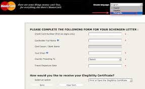 o emitir a Carta Schengen MasterCard para viagens  Europa