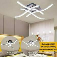 details zu 21 28w led design deckenleuchte wohnzimmer modern deckenle acrylweiß aluoptik