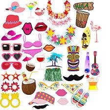 FY Luau Hawaiian Themed Party Photo Booth Props Kit Summer Beach