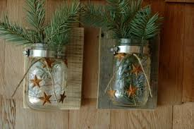 Pair Of Metal Barn Stars Garland Wall Decor With Mason Jars Mounted To Recycled Pallet Boards