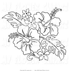 Clip Art of a Coloring Page of a Hibiscus Flower Bouquet