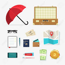 Set Of Travel Things Vector Icons Required Baggage Items To With Packing