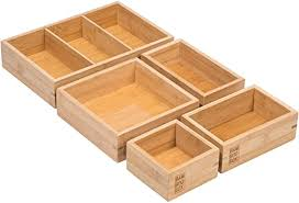 bamboobox aufbewahrungsboxen aus bambus 5 teiliger schubladen organizer ordnungssystem für schublade büro küche werkstatt oder makeup