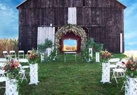 Outdoor Unique Wedding Decorations With Wooden Home And Small Table Also White Folding Chairs