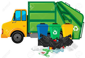 Garbage Truck And Three Trashcans Illustration Royalty Free Cliparts ...