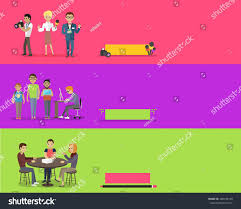 News Report Reporter Clipart Lovely Journalists Team People Group Flat Style Stock Illustration