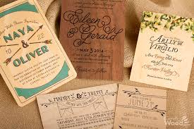 Rustic Wedding Invitations L To R Back Row Birch Walnut Maple Front Curly