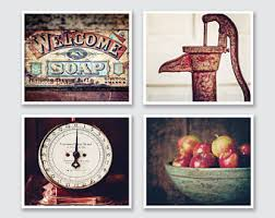 Red Farmhouse Kitchen Decor Country Wall Art Rustic