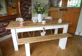 Dining Table With Bench Farmhouse Design And White Prepare Seat Back Upholstered